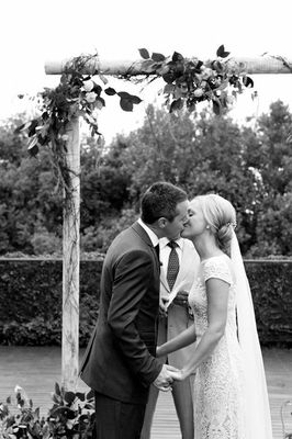 Kiss Under Arbor Black And White