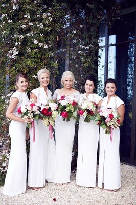 Bridedmaids With Bouquets Long Shot