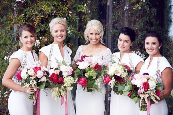 Bridesmaids And Bride With Bouquets